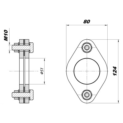 Комплект фланцев ремонтный, D=50