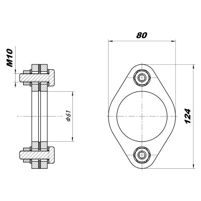 Комплект фланцев ремонтный, D=60